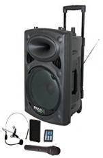 Ibiza Sound PORT8 kannettava akkukäyttöinen 400W aktiivikaiutin+langaton mikki/USB/SD+BT