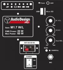 AudioDesign M1.7WL kannettava akkukäyttöinen aktiivikaiutin+yksi langaton mikki/USB/BT/SD