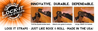 Lock It Strap lukittava kitarahihna musta