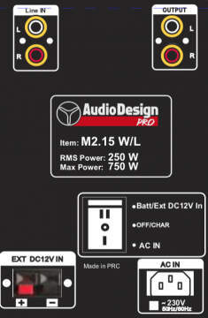 AudioDesignPRO M2 15WL kannettava akkukäyttöinen aktiivikaiutin +kaksi langatonta mikkiä/USB/BT/SD