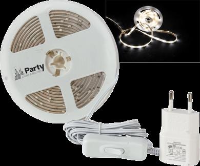 Party Light & Sound 3m valkoinen matalan profiilin LED-nauha