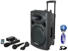 Ibiza Sound Kannettava akkukäyttöinen 500W kaiutin+langaton mikki/USB/SD+BT